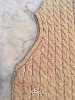Max Mara Beige Cable Knit Sweater In Virgin Wool/cashmere Sz M