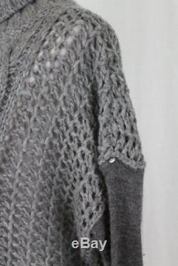Max Mara Sportmax Chunky Gray Oversize Cable Knit Cashmere Turtleneck Sweater S