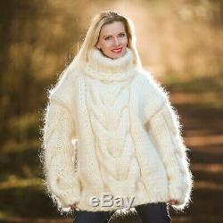 Mega thick pullover mohair sweater ivory cable hand knit heavy jumper SUPERTANYA