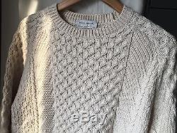 Men's Tomorrowland Japan Tricot Wool Cable Knit Crew Sweater in Beige Sz S NEW