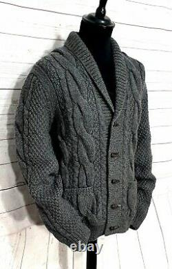 Mens Brooks Brothers cable knit Alpaca merino wool sweater cardigan size Large