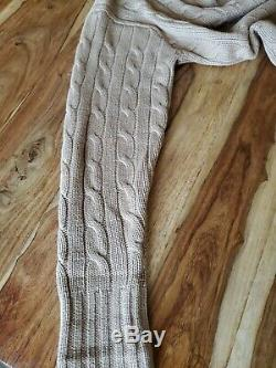 Mens EXCELLENT Polo Ralph Lauren Brown Tan Camelhair Cable Knit Cardigan Sweater