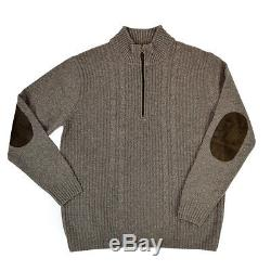 Mens GRAN SASSO Italy Beige Cable Knit Cashmere 1/4 Zip Sweater M NWT