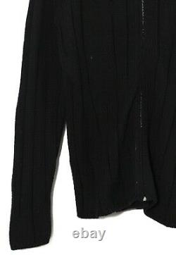 Mens HERMES Full Zip Cable Knit Sweater Jumper Cashmere Wool Silk Black Size XL