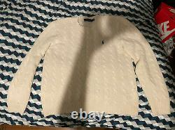 Mens Polo Ralph Lauren Cable-Knit Sweater white, medium, wool cashmere