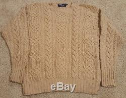 Mens Polo by Ralph Lauren Beige Cable Knit 100% Cashmere Sweater Size 44 Large