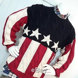 Mens Vintage Tommy Hilfiger XL Stars Stripes Patriotic Cable Knit Cotton Sweater