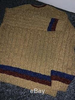 Metalic Mens Gucci Cable Knit V-nevk Sweater Size Large
