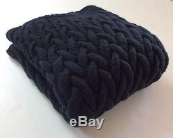 Michael Kors Men Wool & Yak Super Chunky Heavy Cable Knit Sweater Navy Blue