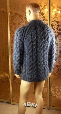 Mohair Hand Knitted Graphite Gray Cable Knit Mock Neck Sweater Jumper, size L
