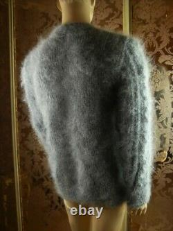 Mohair Hand Knitted Silver Gray Fluffy Men's Cardigan Sweater Jumper size L