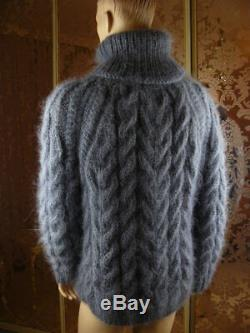 Mohair Handmade Not Brushed Thick Gray Cable Knit T- Neck Sweater Jumper XL