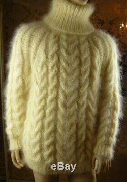 Mohair Handmade White Cream Solid Cable Knit T- Neck Sweater Jumper size L