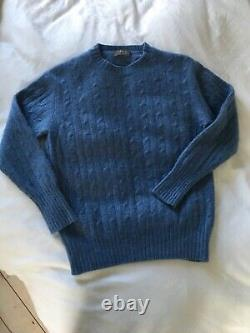 N. Peal 100% Cashmere Blue Cable Pattern Sweater S 8/10 £350 IMMACULATE COND