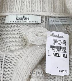 NEIMAN MARCUS cashmere collection nwt $695 chunky cable knit cardigan medium