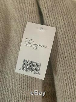 NEW $395 Vince Natural Yak Wool Cable Knit Shawl Collar Shrug Cardigan Sweater L