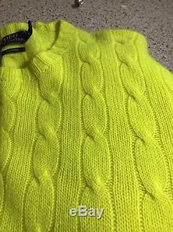 NEW $398 Polo Ralph Lauren Cashmere Optic Yellow Cable Knit Mens Fashion Sweater