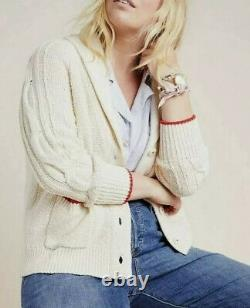 NEW Anthropologie LOBSTER Cable Knit Ivory Red Button Front Cardigan Sweater M