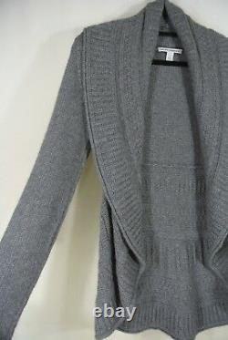 NEW Autumn Cashmere Draped Cable-knit Cardigan in Gray Size M #S1149