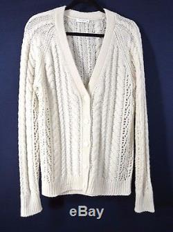 NEW Equipment Suzy Cable Knit Cashmere Cardigan- natural size XS $348