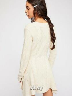 NEW FREE PEOPLE Sz S M CABLES AND CASTLES CABLE KNIT MINI SWEATER DRESS IVORY