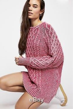 NEW Free People pink Oversized Textured Cable Knit Long Tunic Sweater Dress L