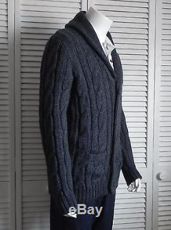 NEW Mens SIZE XL ALPACA Dark Gray Cable Knit Shawl Collar Cardigan Sweater PERU