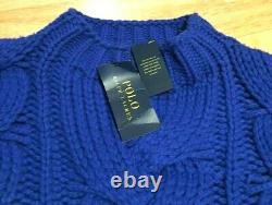 NEW Polo Ralph Lauren Aran Cable Chunky Knit Wool Cashmere Blue Jumper Sweater M