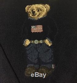 NEW Polo Ralph Lauren Bear Sweater USA Flag Cable Knit Teddy Bear MENS XS BLUE