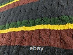 NEW Polo Ralph Lauren ST Andrews Men 2XB 2XL Big Cable Knit Sweater Rasta Hooded