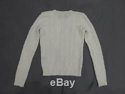 NEW Ralph Lauren Black Label 100% Cashmere Ivory Cable knit Crew neck Sweater S
