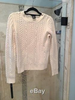 NEW THEORY 100% Cashmere Ivory Manuela Cable Knit Sweater M Medium