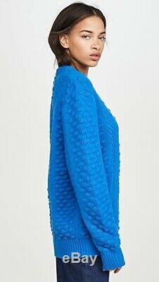 NEW TORY BURCH SPORT Galleria Blue OVERSIZE Chunky Merino Cable Knit Sweater M