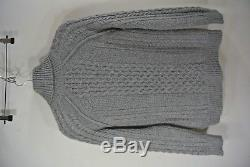 NEW VINCE Cable Knit Turtleneck Sweater- Heather Grey XS $395
