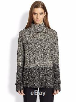 NEW Vince Colorblock Marled Two-tone Cable Knit Turtleneck sweater S