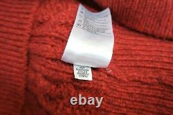 NEW Vince Merino Wool Cashmere Cable Knit V-Neck Sweater Red Size L #S1832
