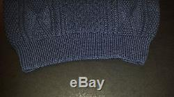 NEW Women's MARC JACOBS Cable Knit Chunky Wool Mock Neck Sweater Navy Blue Large