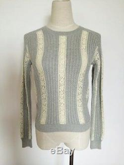 NO. 21 RUNWAY LACE INSERT CABLE KNITTED COTTON SWEATER Sz S