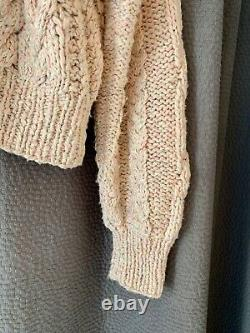 NWOT Dôen Chunky HAND KNIT Cotton Cable-knit Bee Sweater XS