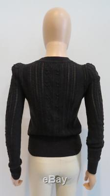 NWOT Isabel Marant Etoile'Faded Black' Cotton/Wool Cableknit LS Sweater, Sz 36