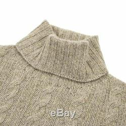 NWOT Isaia Brown 100% Cashmere Cable Knit Piped Chunky Turtleneck Sweater L