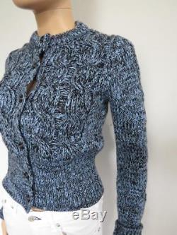 NWOT Prada Light Blue/Navy Chunky Cable Knit Cardigan Sweater, Size 42/US6
