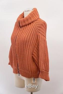 NWT $1325 Brunello Cucinelli Chunky Cable Knit Zip-Up Cardigan Sweater Sz M A176