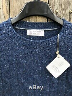NWT $1795 Brunello Cucinelli Cashmere Wool Cable Knit Sweater Blue Sz L 52