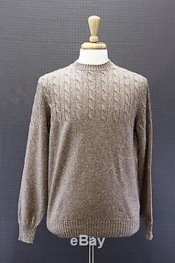 NWT$2245 Brunello Cucinelli Men's 100% Cashmere Flecked Cable-Knit Sweater 50/40