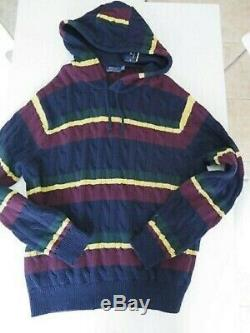 NWT $245 Polo Ralph Lauren St Andrews 2 Cable Striped NAVY Hoodie Sweater 3XLT