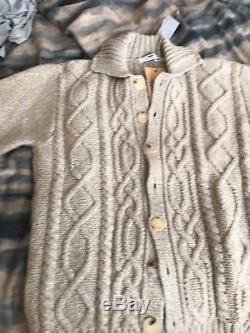 NWT $295 Inis Meain Ireland Merino Beige Cableknit Aran Cardigan Special Edition