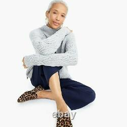 NWT $298 J. CREW COLLECTION M Cashmere Cable-knit Mockneck Heather Dusk Rare Find