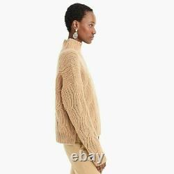NWT $298 J. CREW COLLECTION Size L Cashmere Cable-knit Mockneck Heather Acorn