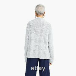 NWT $298 J. CREW COLLECTION Size S Cashmere Cable-knit Mockneck Heather Dusk RARE